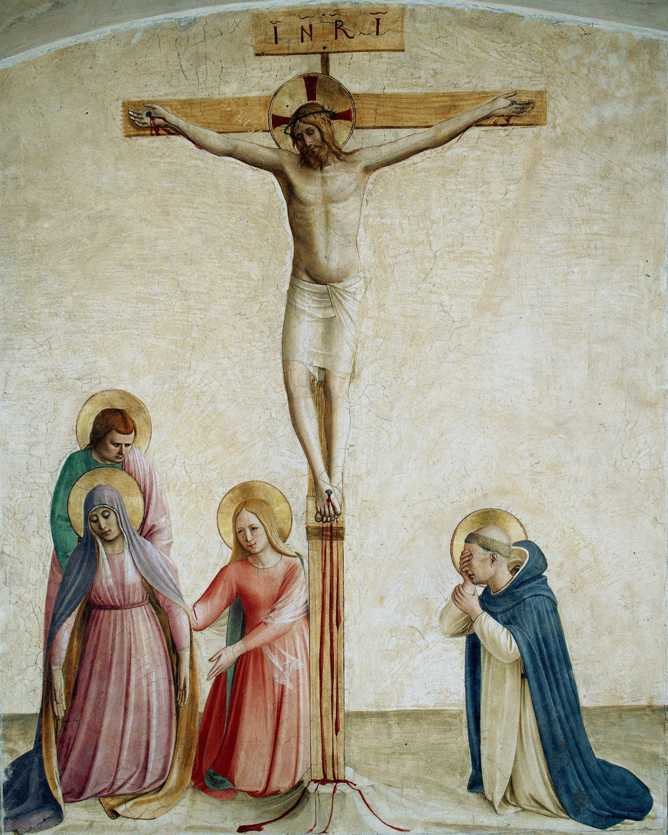 The crucifixion of Jesus with the Virgin Mary, Saint John and Mary Magdalene.