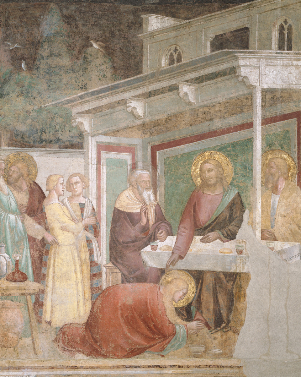 Jesus at the table in the house of the Pharisee, receiving the visit of Mary Magdalene, depicted as a prostitute bowing at Jesus's feet.