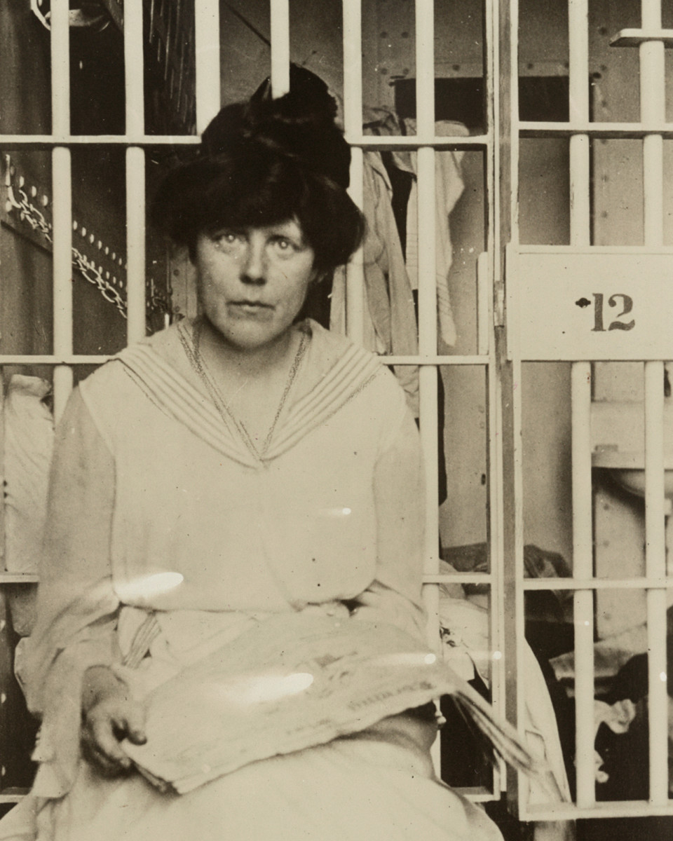 Suffragist Lucy Burns in a cell at the Occoquan Workhouse after women's rights protests in November 1917.