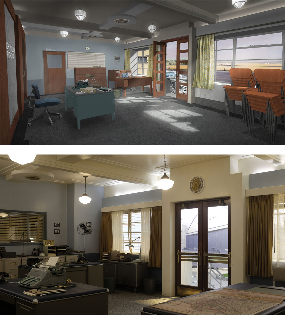 Concept drawing, top, and set photo of the Project Blue Book headquarters reception room, which was designed to evoke the federal Art Deco look of the 1920s and '30s.  CREDIT: Drawing Ross Dempster, Photo: Eduardo Araquel/HISTORY.