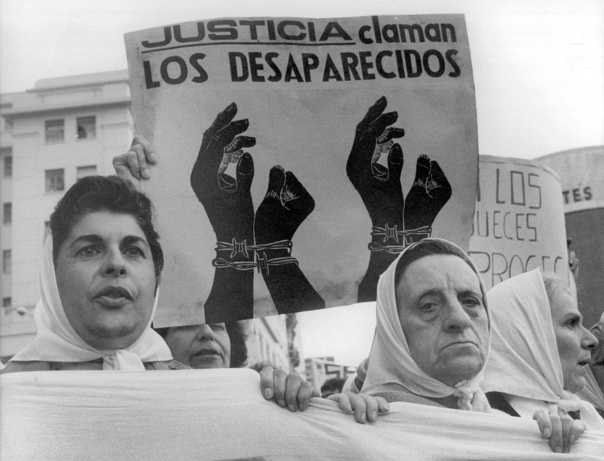 Mothers and relatives of people gone missing during Argentina's Dirty War staged protests at the Plaza de Mayo in the 1980s.