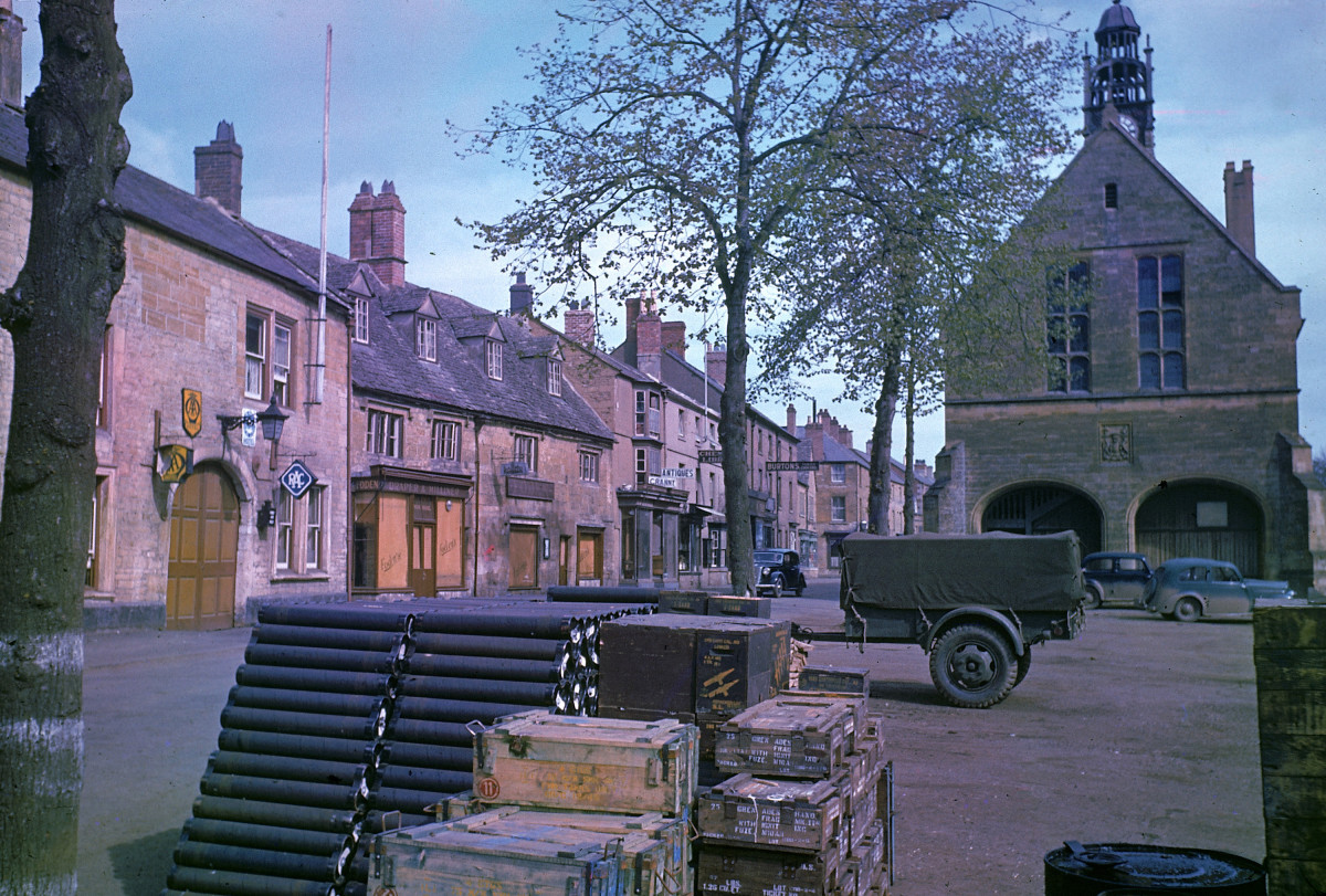 Ammunition stored in the town square of Morten-in-Marsh, England in May 1944 in preparation for D-Day.