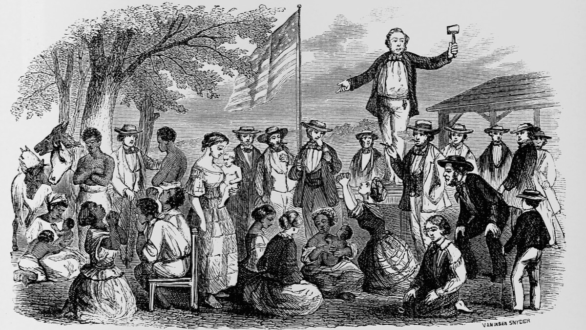 An illustration of a slave auction, where both white men and women took part.