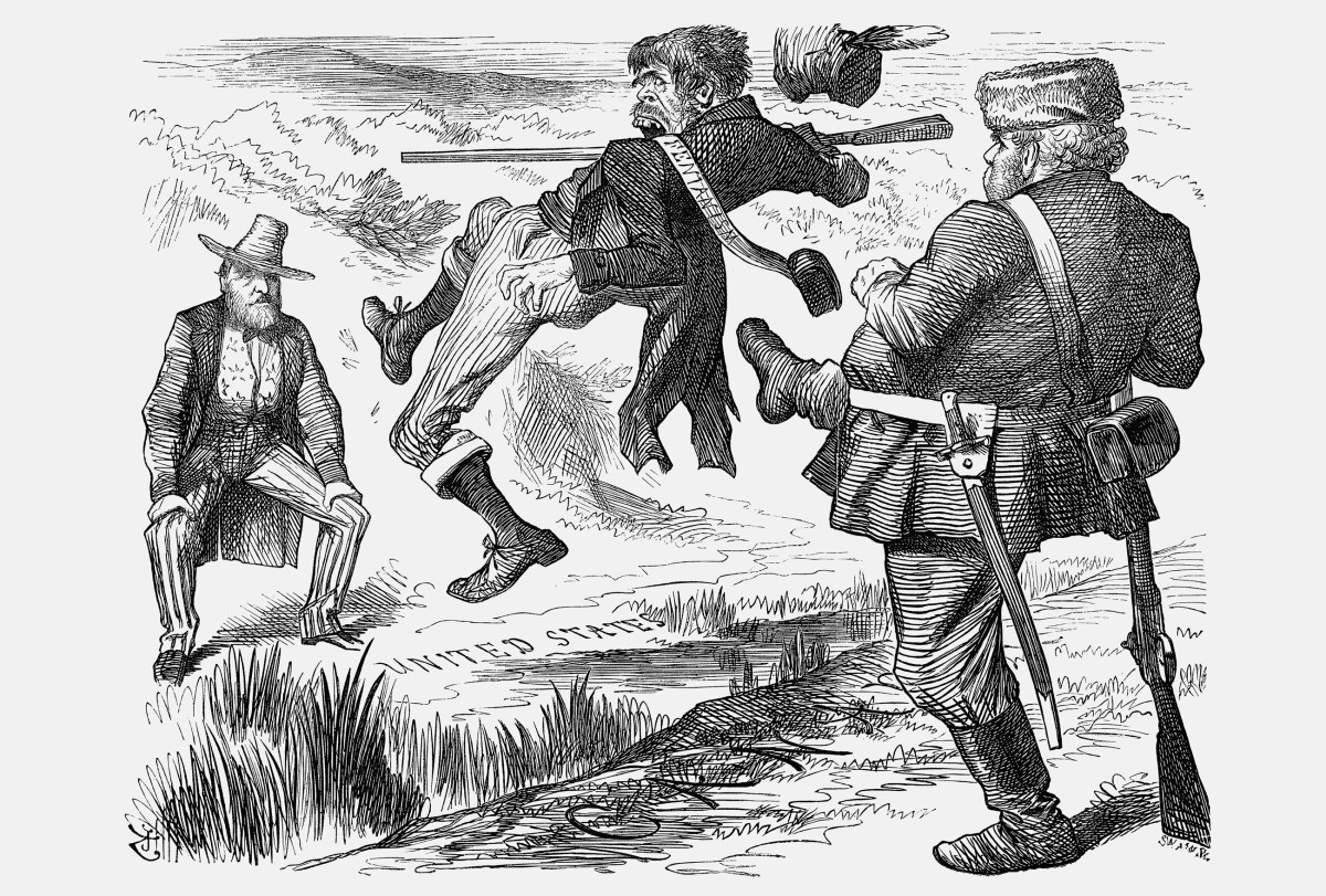 A cartoon illustrating a Canadian kicking a representative of the Irish Fenian movement out of Canada and back to America where President Grant is waiting.
