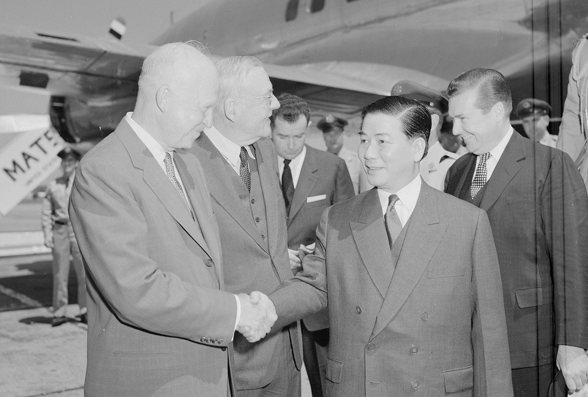 President Dwight Eisenhower with John Foster Dulles and South Vietnam President Ngo Dinh Diem in Washington, 1957.