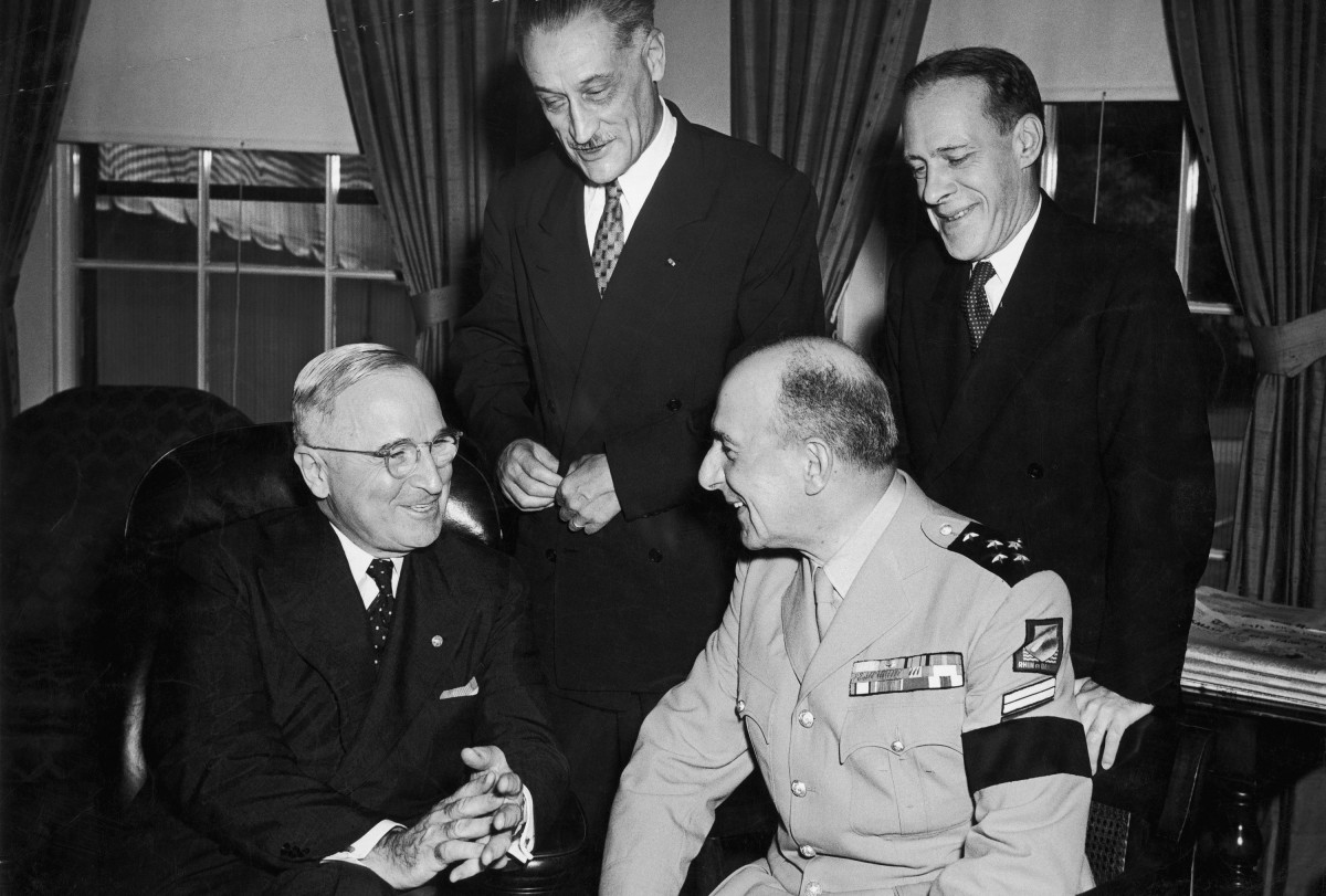 President Harry Truman meets with Jean de Lattre de Tassigny, French military commander in the the first Indochina War, and Henri Bonnet, French ambassador to the United Sates from 1944-1954.