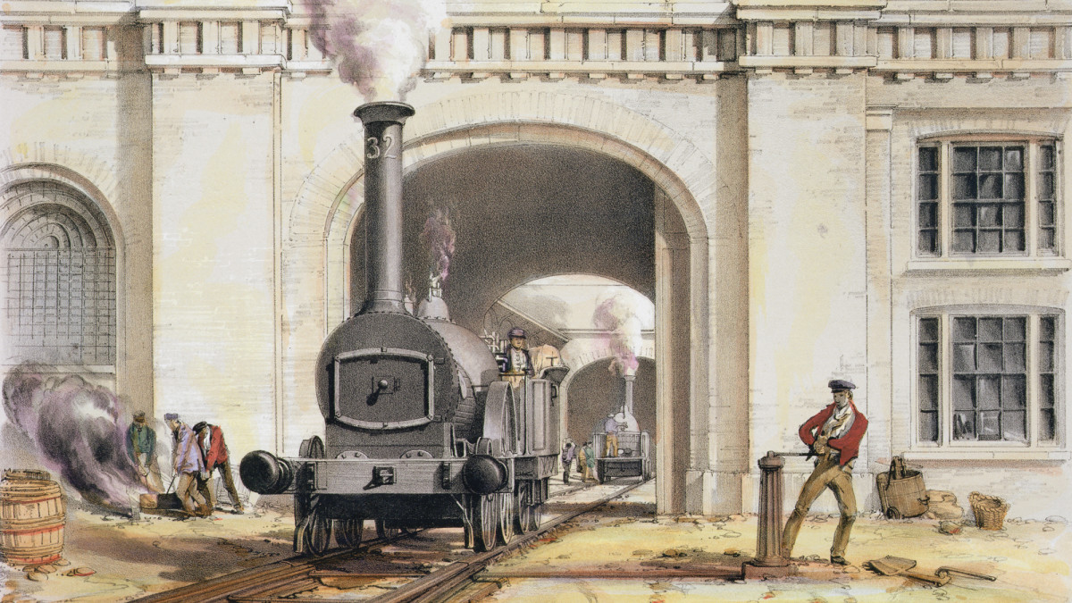Entrance to the locomotive engine house during the construction of the London & Birmingham Railway.