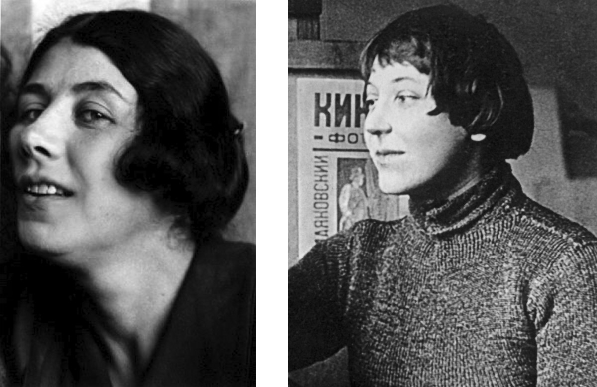 Artists Liubov Popova and Varvara Stepanova, circa 1920.
