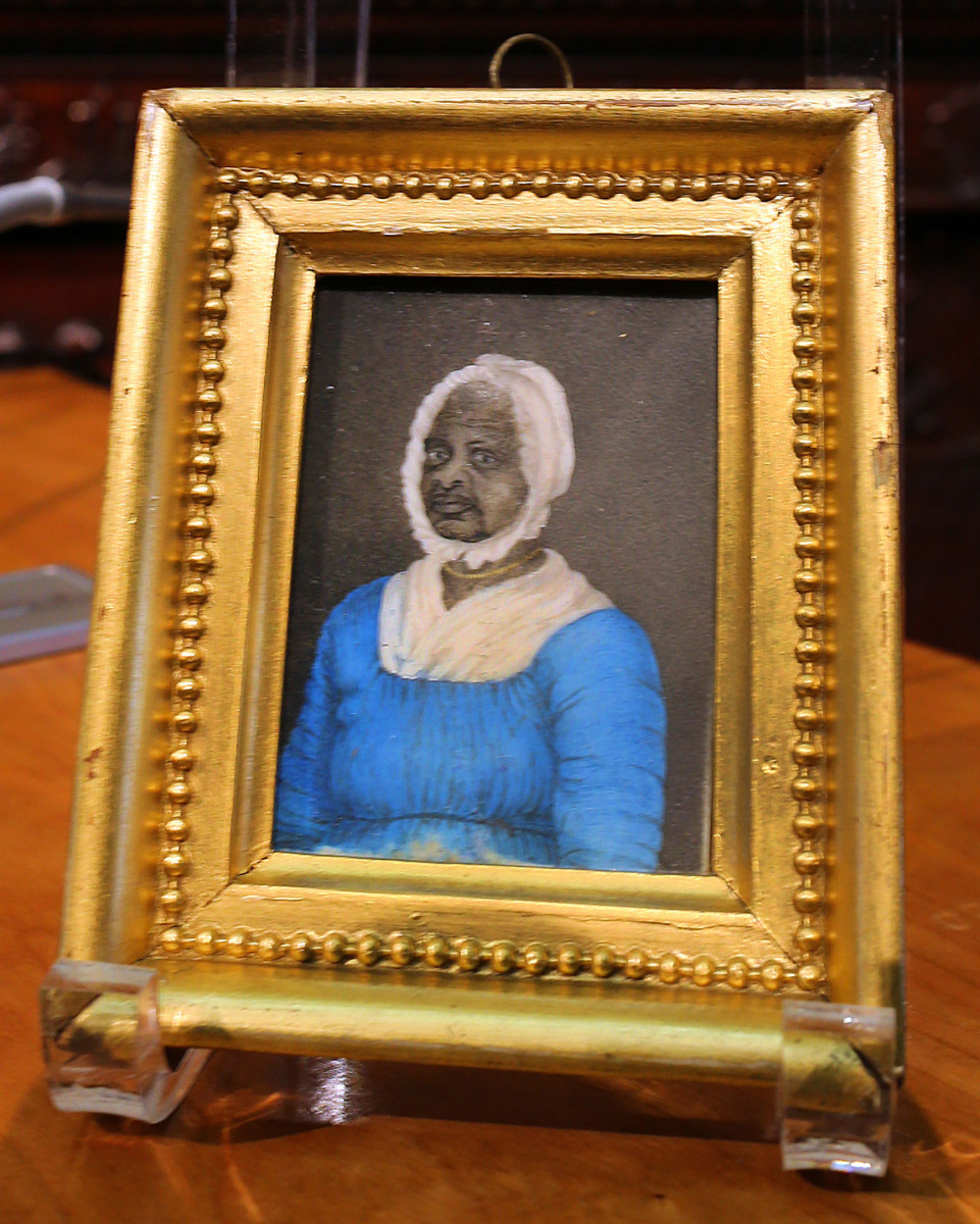 A portrait of Elizabeth Freeman, also known as Mum Bett, on display by the Massachusetts legislature in observance of Black History Month. She was the first female slave set free under the state constitution after she sued for her freedom in 1781.