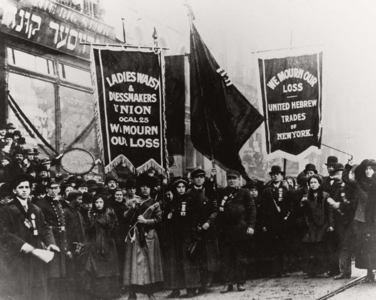Demonstrators mourning the  victims of the Triangle Shirtwaist Factory fire in New York City, 1911.