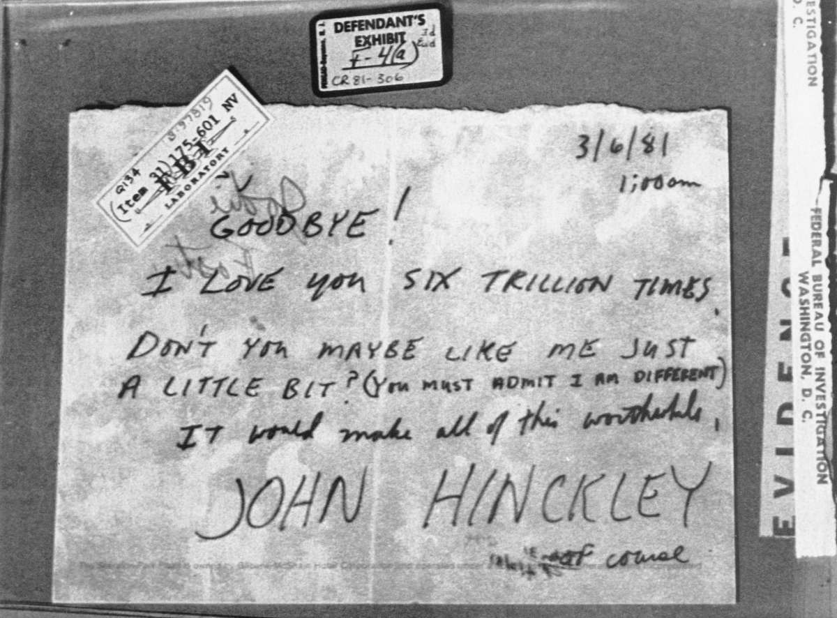 A note written to actress Jodie Foster from John Hinckley, Jr. on March 6, 1981, just over three weeks before President Reagan was shot.