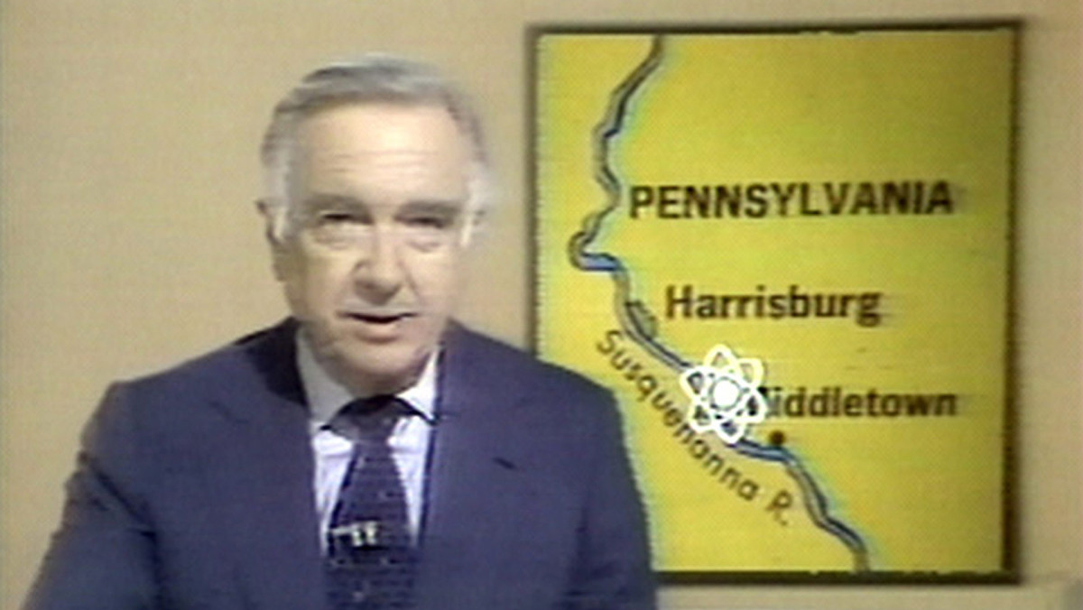 Journalist and TV news broadcaster Walter Cronkite, anchor for the 'CBS Evening News,' reporting on the meltdown of a reactor at the Three Mile Island nuclear power plant in 1979.