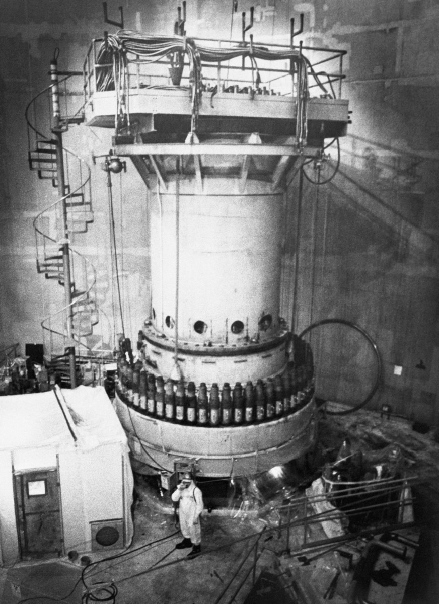 Top portion of the reactor on the day of the meltdown accident.