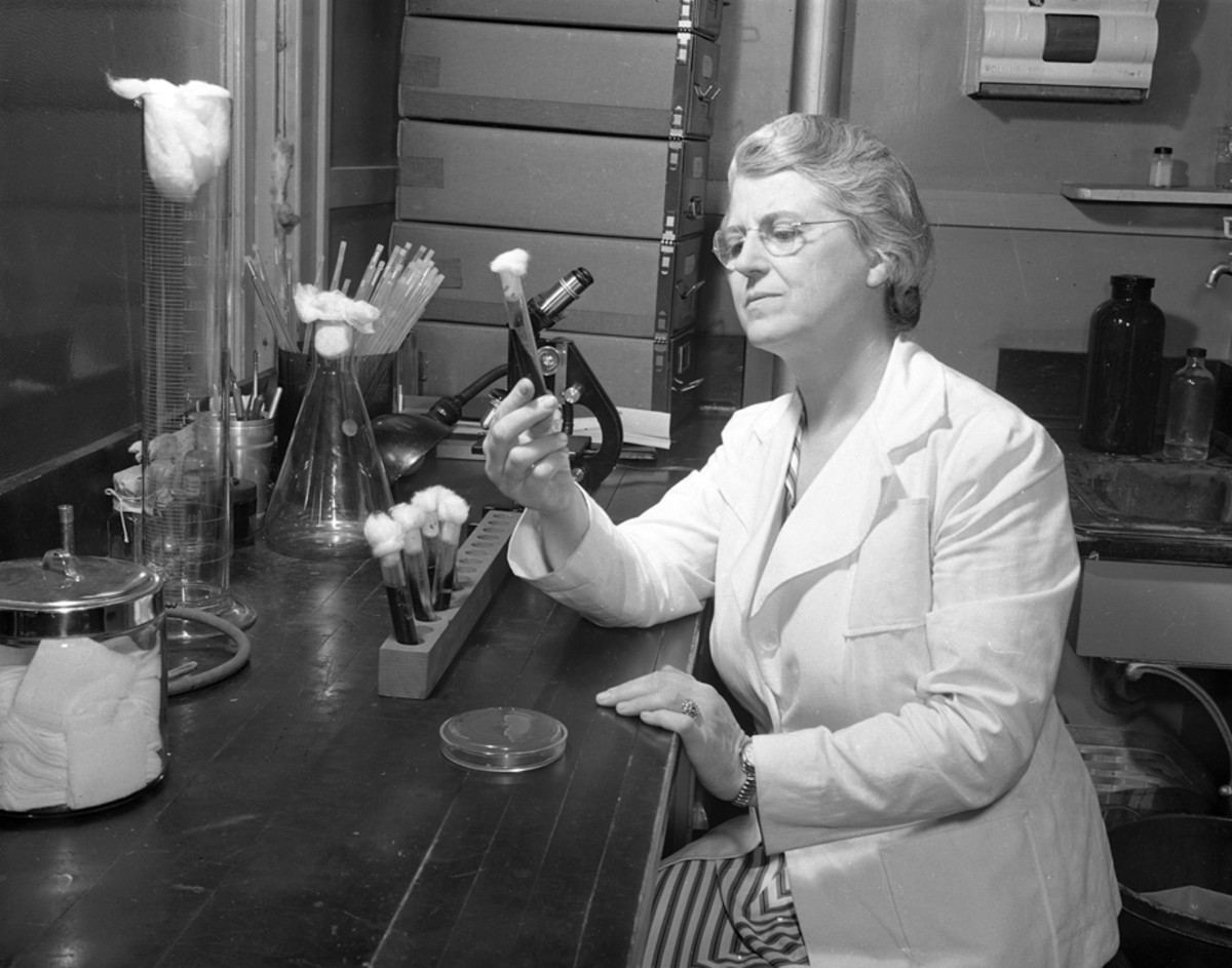 Dr. Pearl Kendrick, seen here in 1942, was a bacteriologist with the Michigan Department of Health who developed the first successful vaccine for whooping cough in the 1930s with Grace Eldering.