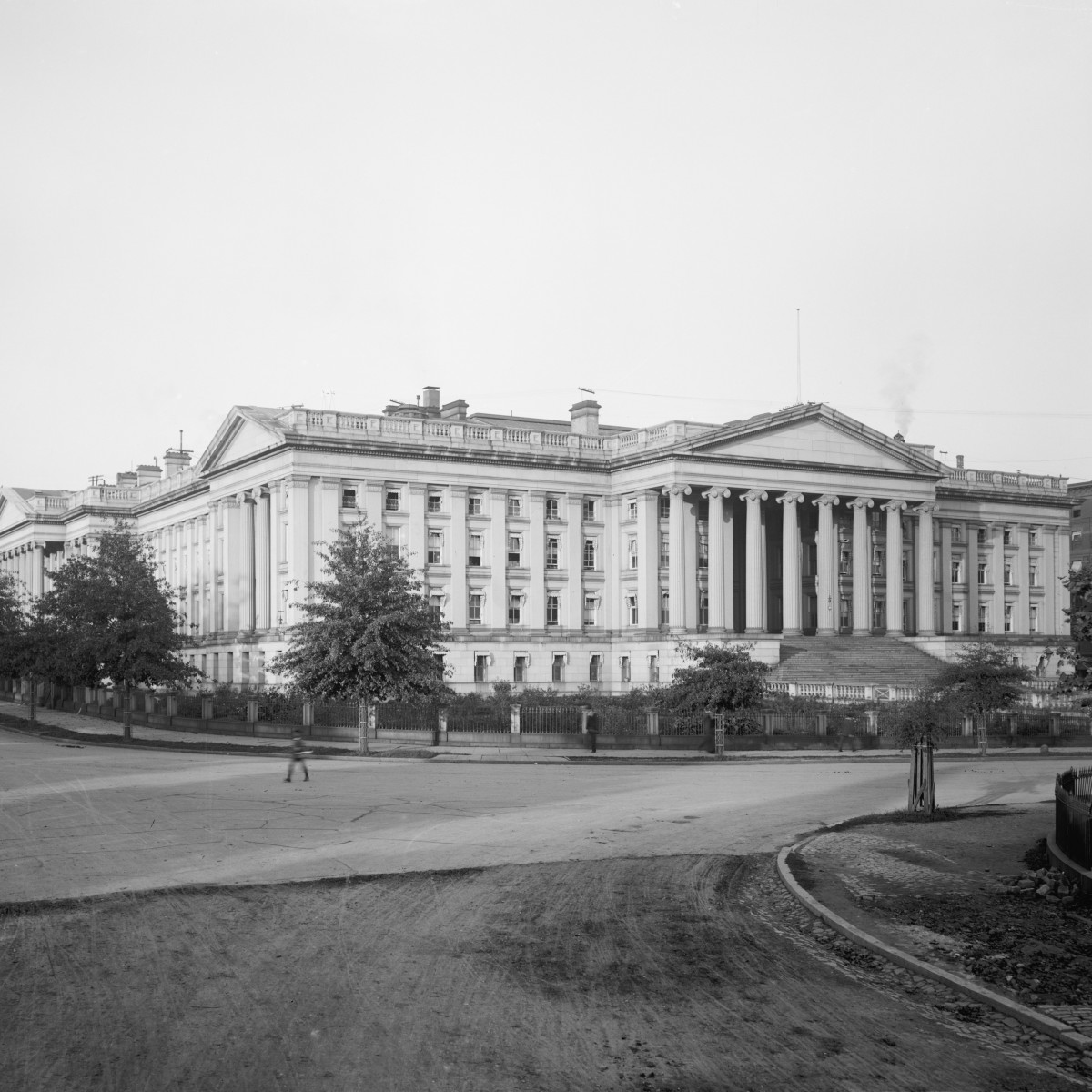 U.S. Treasury Building in Washington, D.C., circa 1900.