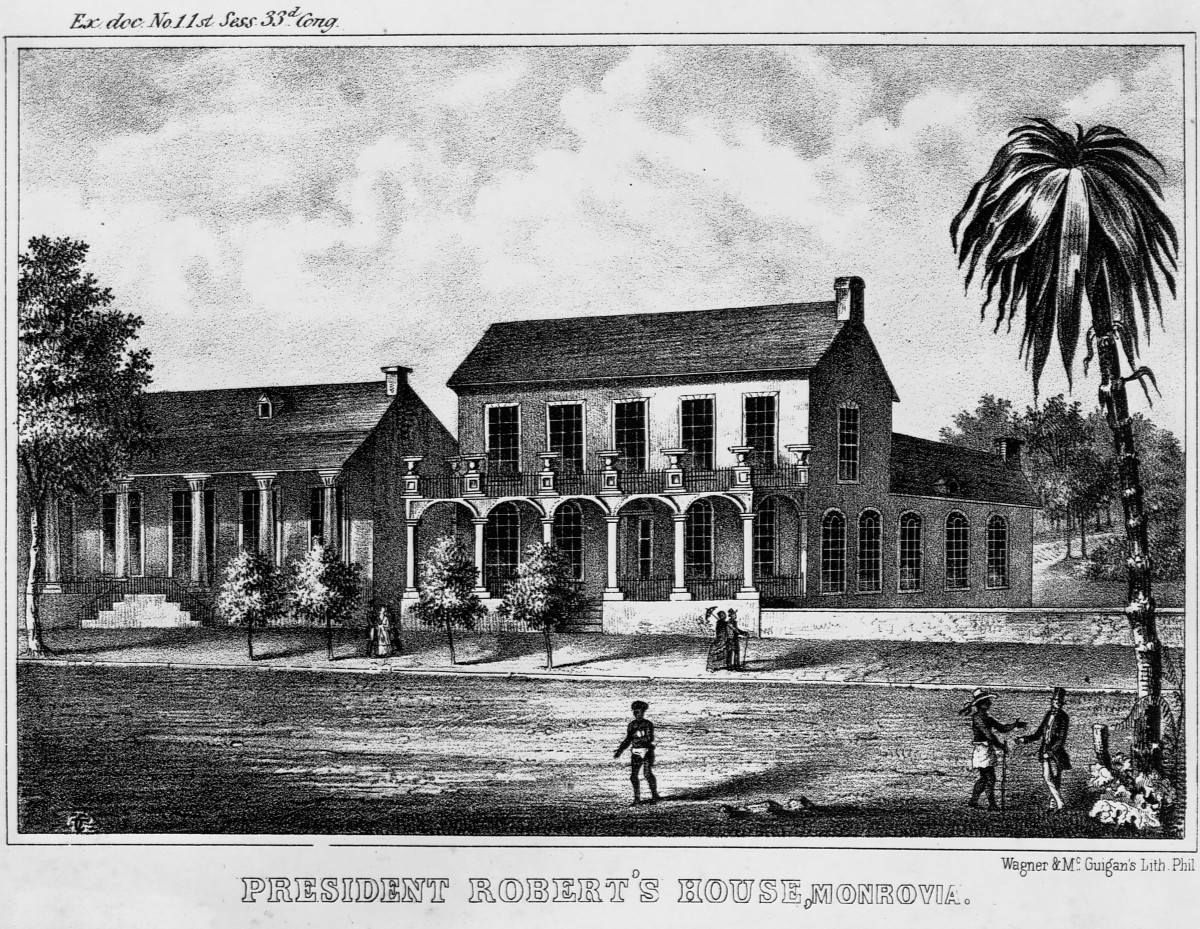 President Joseph Jenkins Roberts' house in Monrovia, Liberia, in the 1870s, shortly after Liberia became the first African colony to gain its independence.