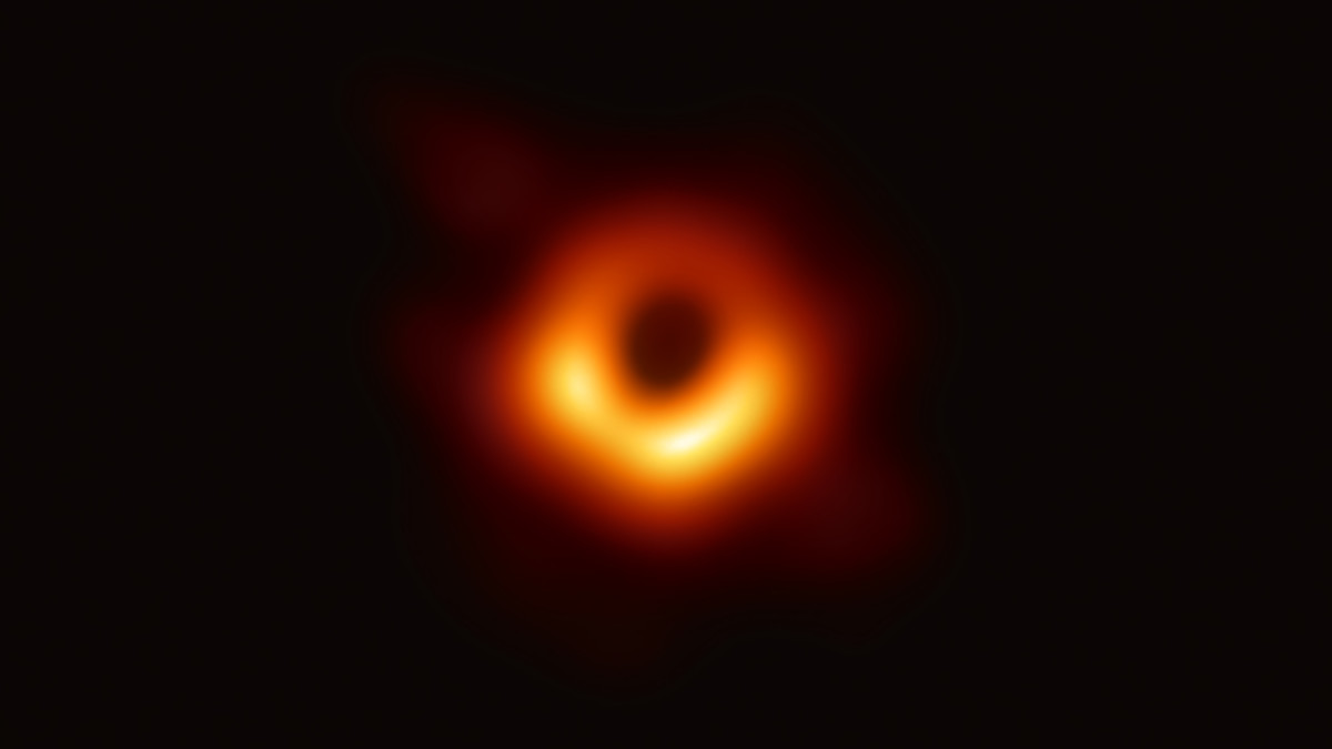 The first image of the shadow of the black hole in the center of M87 taken with the Event Horizon Telescope in 2019.