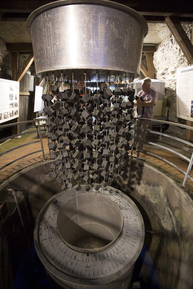 A replica of the nuclear reactor test facility discovered by Allies now located in the Atomkeller Museum in Haigerloch, Germany.