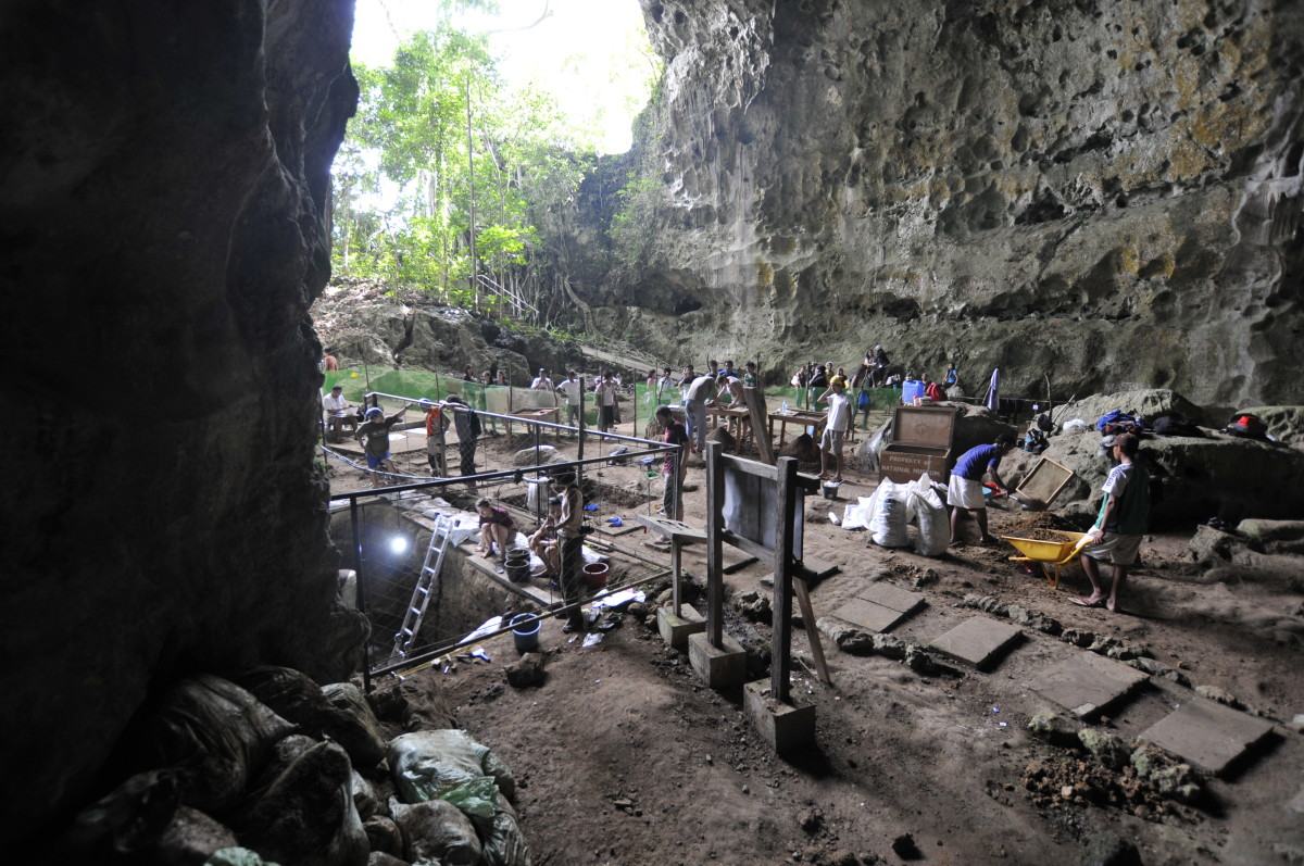 Excavation work inside the Callao Cave in Luzon.