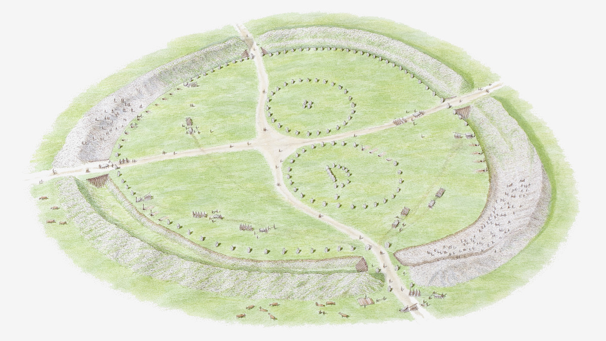 An illustration depicting Avebury during neolithic times, containing three stone circles.