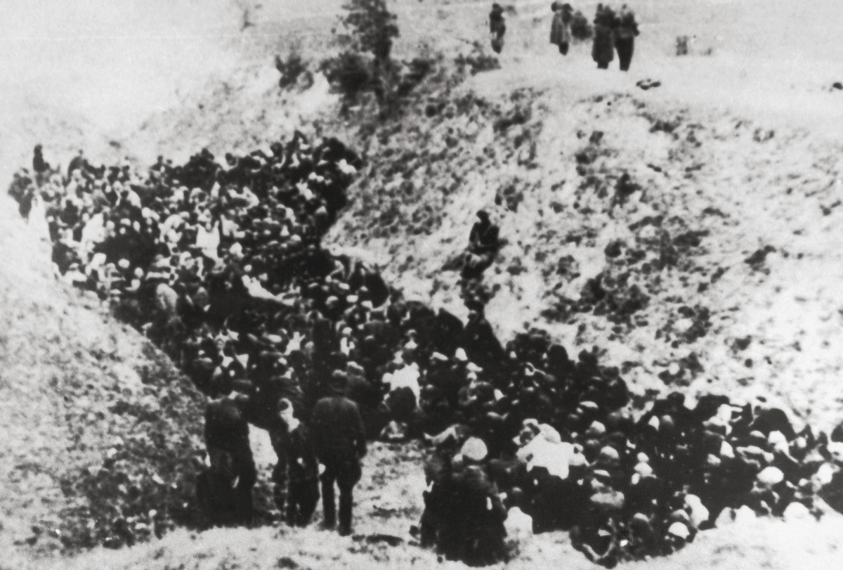 A large group of Polish Jews before execution in Belzec, circa 1941.