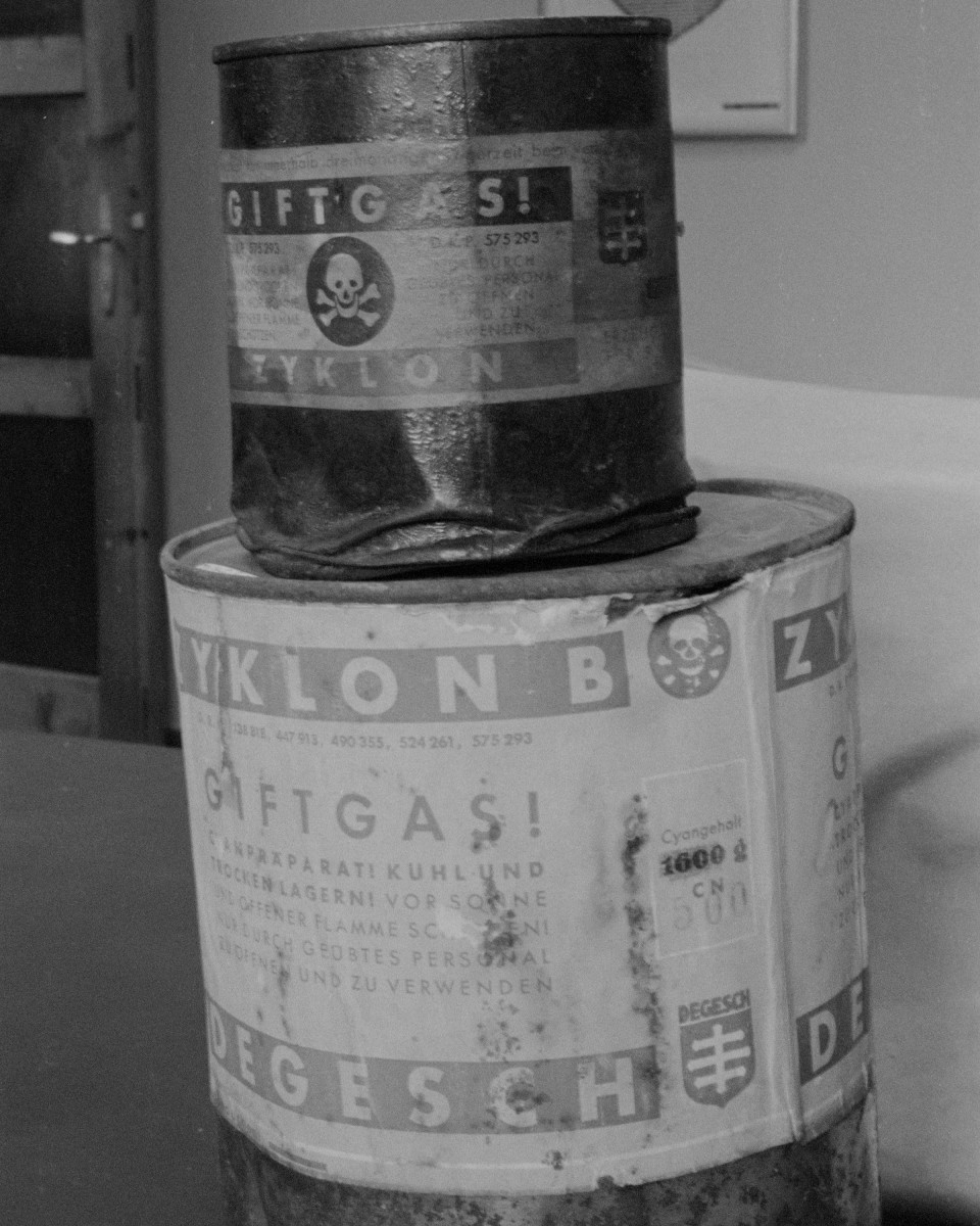 Cans of Zyklon B, the poison used in concentration camps, discovered after the horrors of the Holocaust.