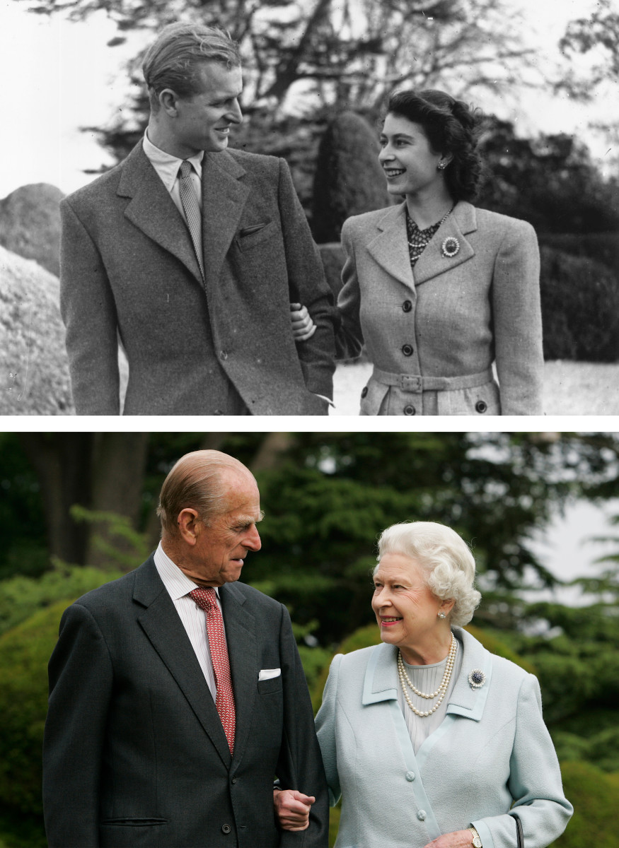 Queen Elizabeth II and Prince Philip, The Duke of Edinburgh, seen on their honeymoon (top) in Broadlands, Romsey, Hampshire in 1947 and in the same location (bottom) for their 60th wedding anniversary.
