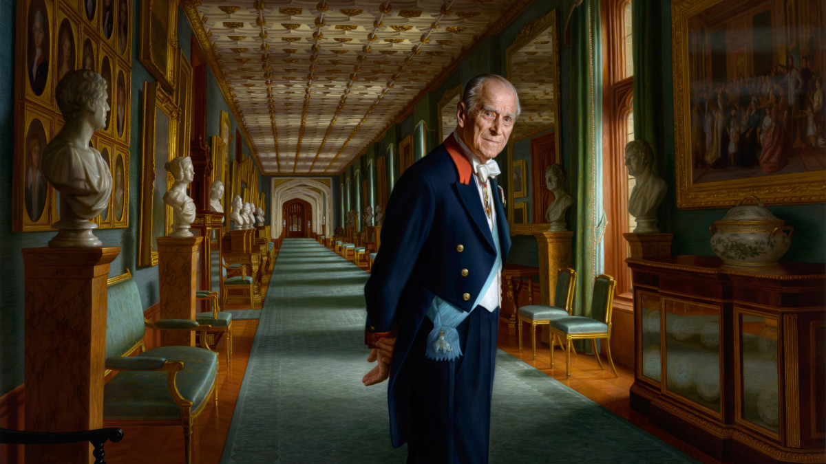 A painting of Prince Philip, Duke of Edinburgh is photographed in the year of his retirement from public engagements set in The Grand Corridor at Windsor Castle with him depicted wearing the sash of the Order of the Elephant, Denmark's highest-ranking honor in 2017 in England.