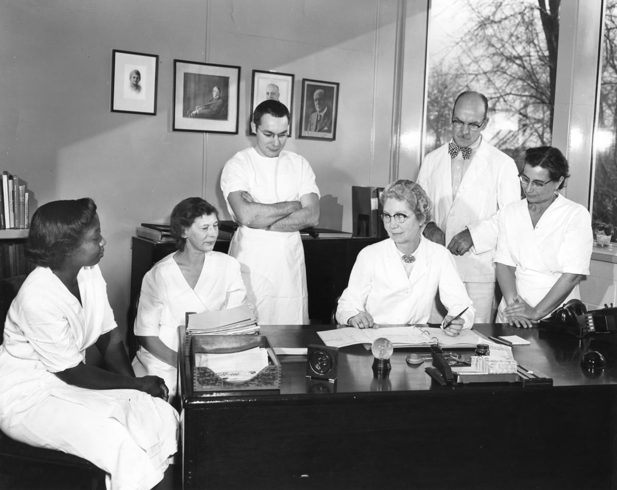 Grace Eldering, third from right, and Loney Clinton Gordon, far left, who worked with Pearl Kendrick and helped pioneer a combined vaccine for diphtheria, pertussis, and tetanus.