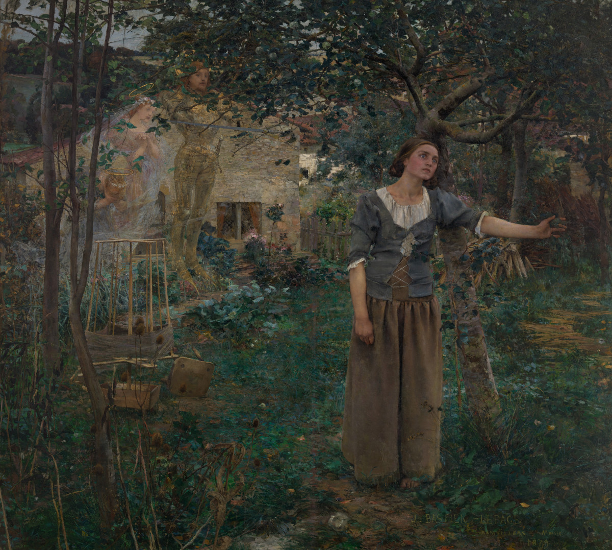 Joan of Arc, as painted by artist Jules Bastien-Lepage, in the moment when Saints Michael, Margaret, and Catherine appear to her in her parents' garden, rousing her to fight the English invaders in the Hundred Years War.