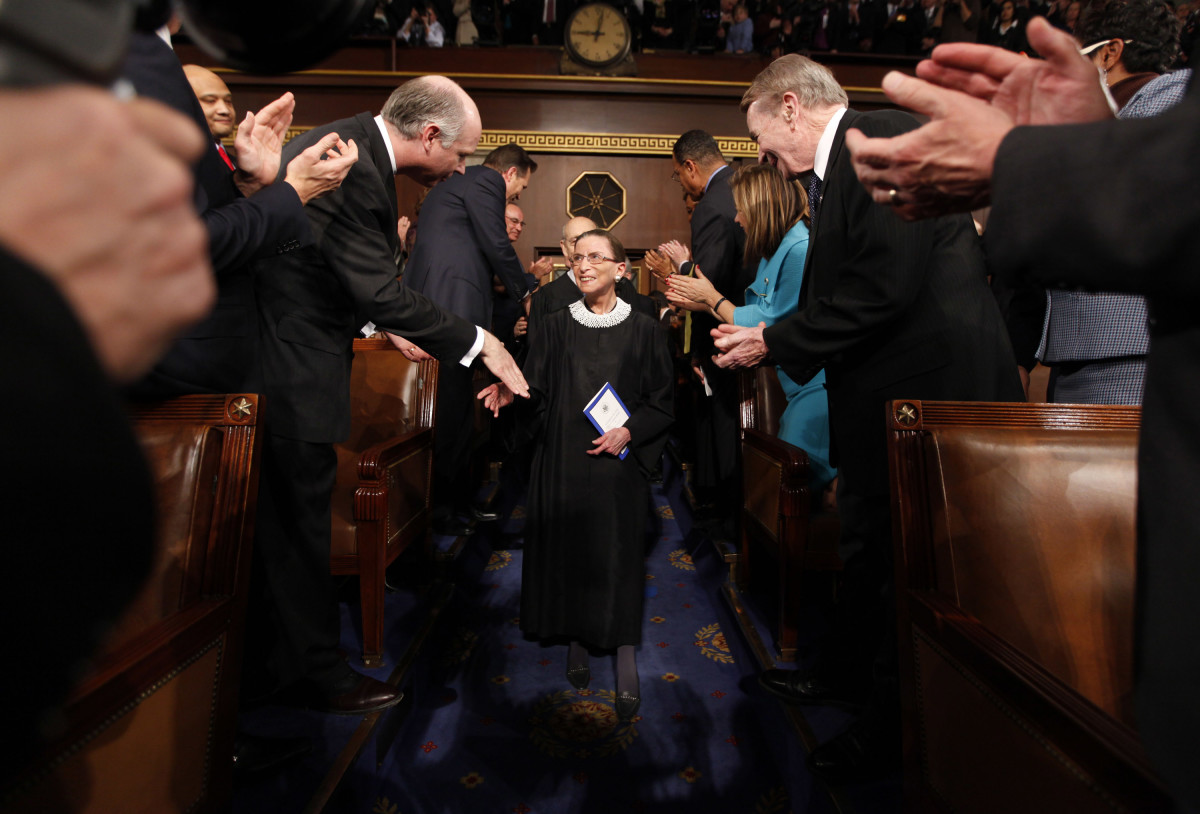 Supreme Court Justice Ruth Bader Ginsburg arriving for U.S. President Obama's address to a joint session of Congress in the House Chamber of the U.S. Capitol in 2009.