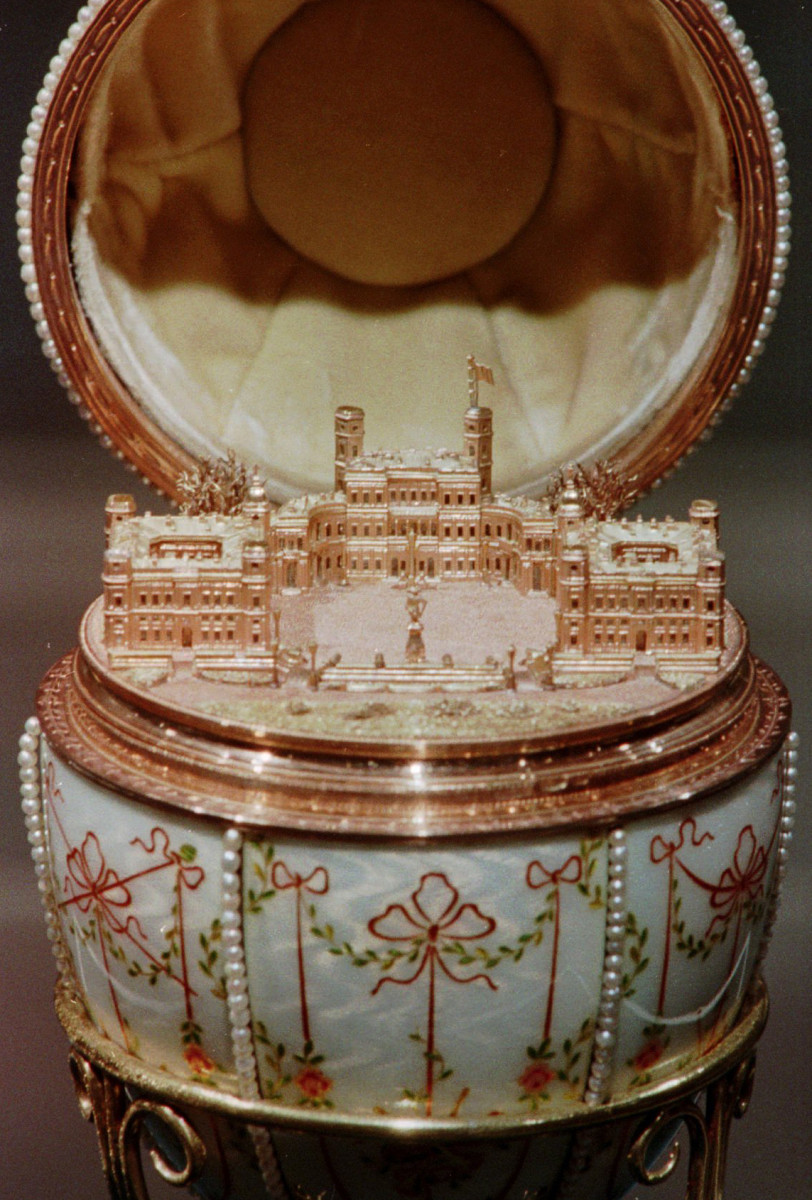 The Fabergé Gatchina Egg pictured on display in an exhibit, called 'Palaces of St. Petersburg: Russian Imperial Style' at the Mississippi Arts Pavilion.