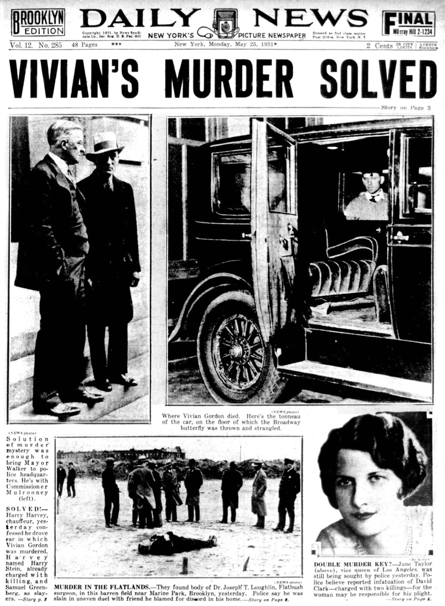 The front page of the New York Daily News on May 25, 1931, regarding the solved murder of Vivian Gordon.