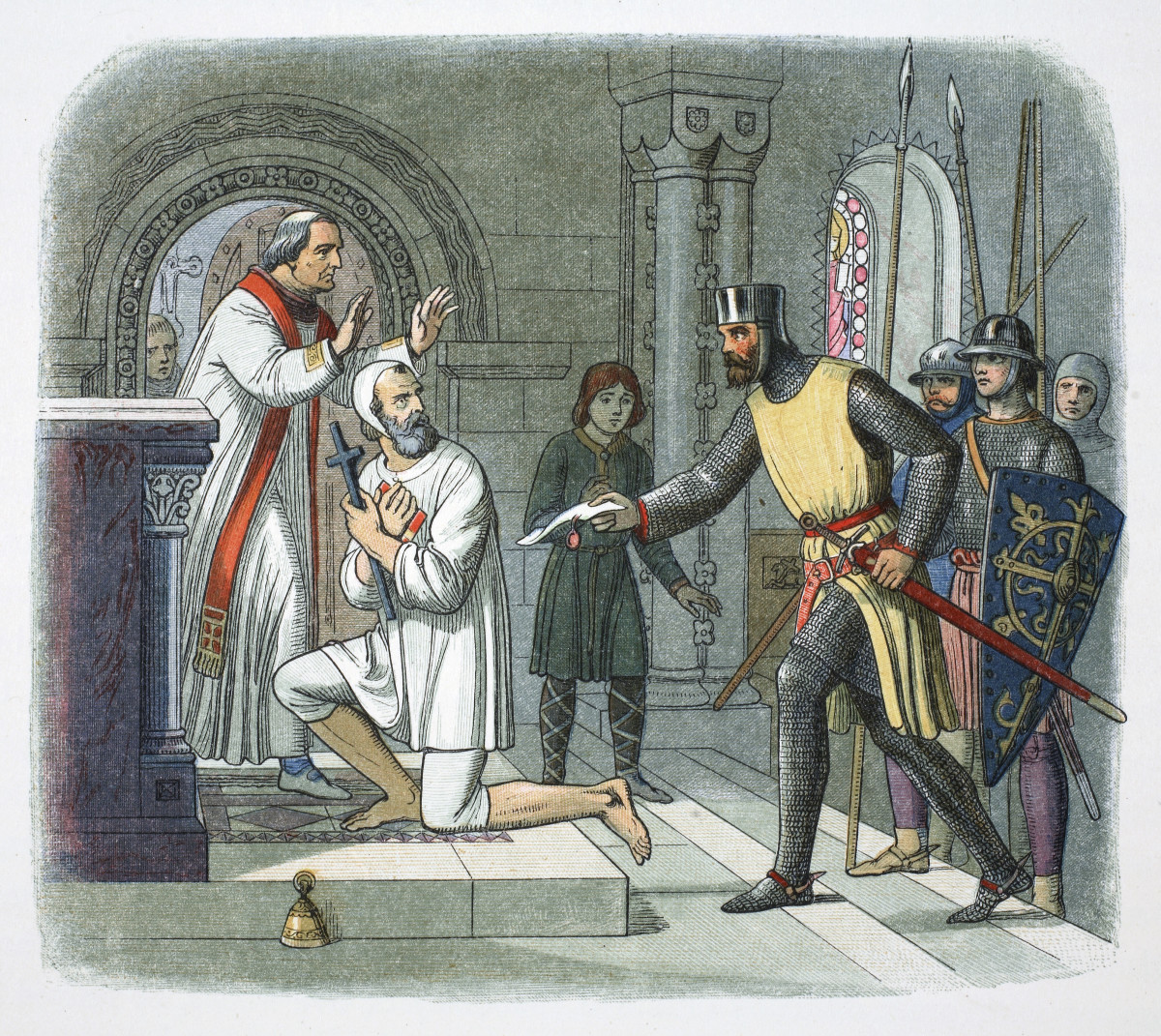 Hubert de Burgh, 1st Earl of Kent (1170–1243), being taken from sanctuary at Boisars, France, 1232.