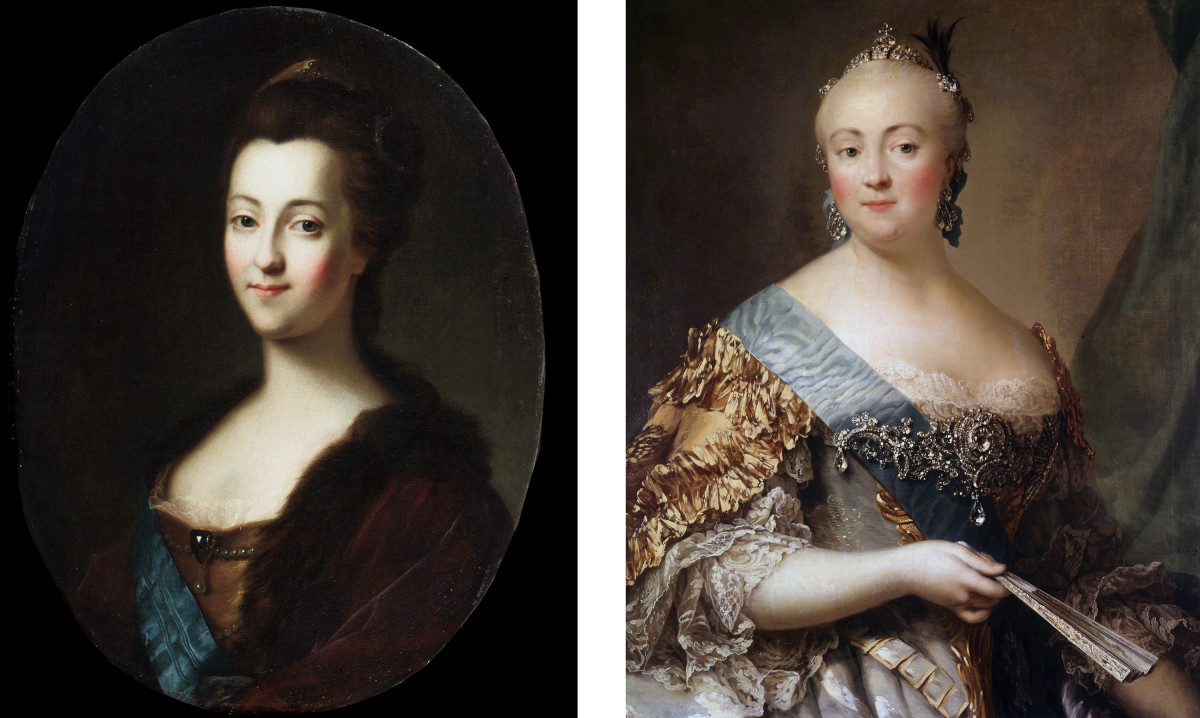 Catherine the Great (left) who was imprisoned by Empress Elizabeth (right) after giving birth.