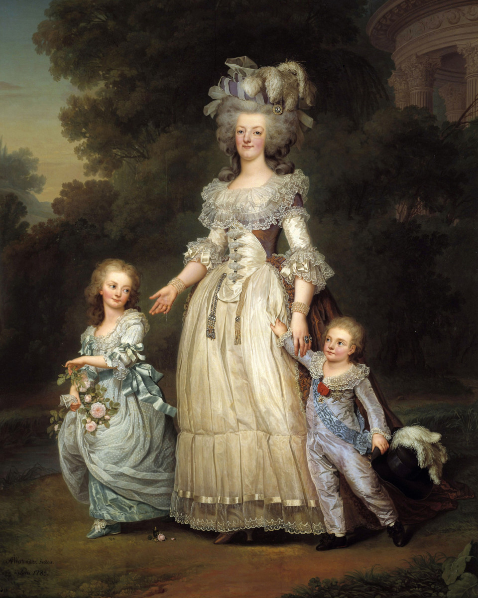 Marie Antoinette and her children.