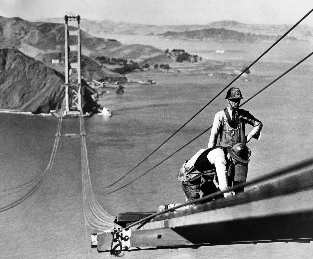 Construction of the Golden Gate Bridge, October 1935.