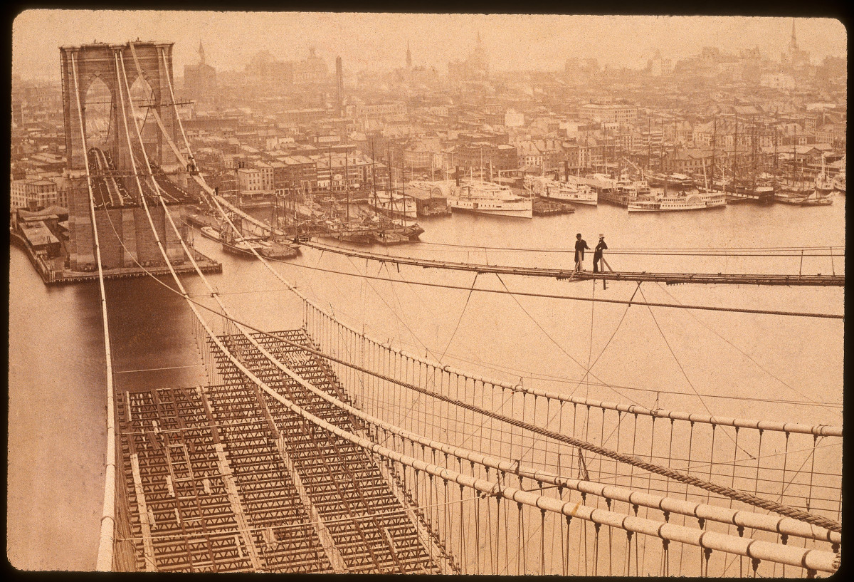 Construction of the Brooklyn Bridge