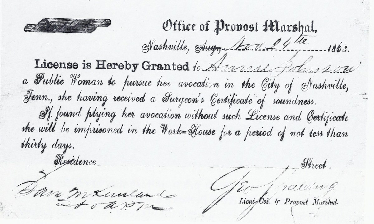 A license to protect sex workers, signed by George Spalding circa 1863.