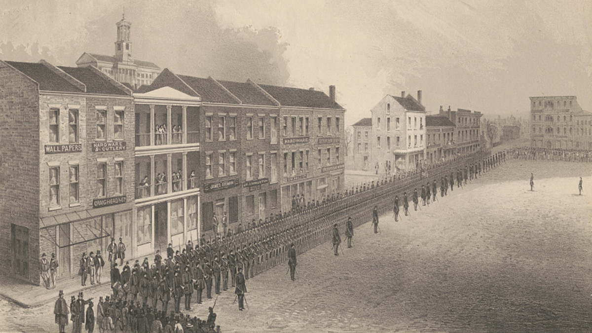A parade of soldiers in Union-occupied Nashville, circa March 1862.