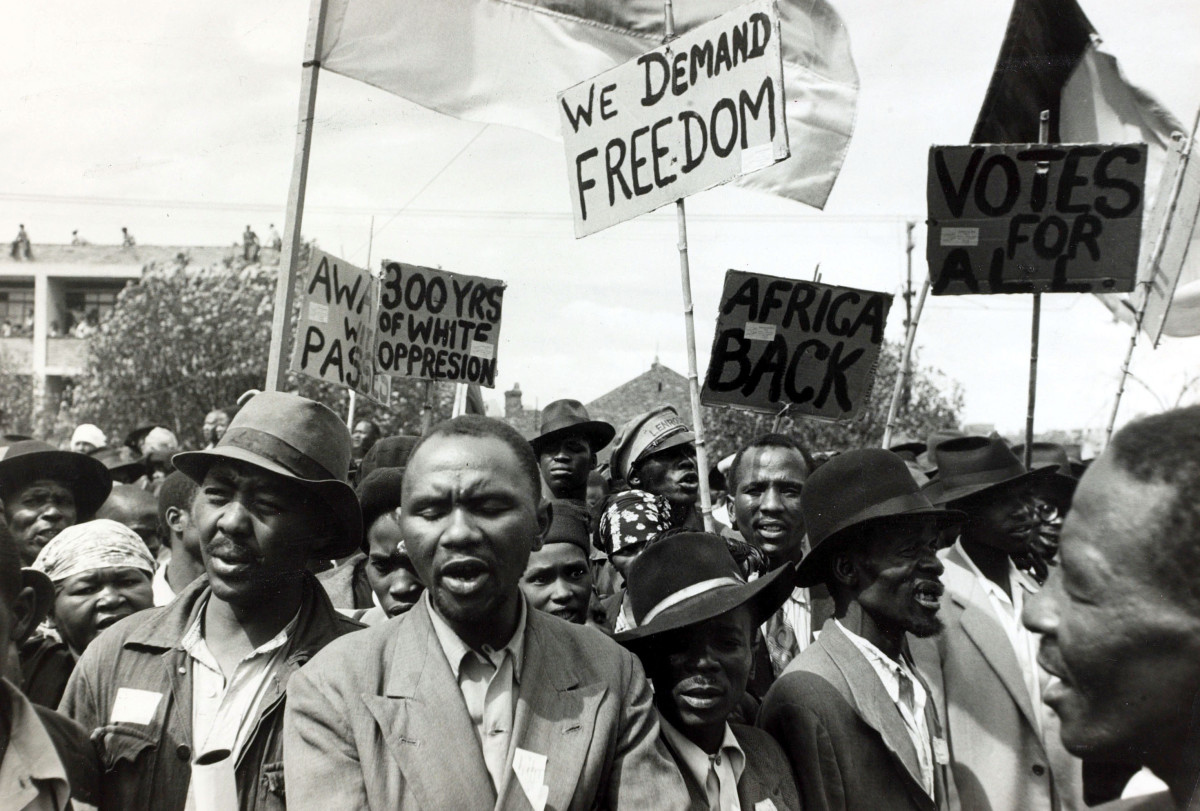 A crowd at a Johannesburg protest meeting which defied a ban on such gatherings, circa 1952.