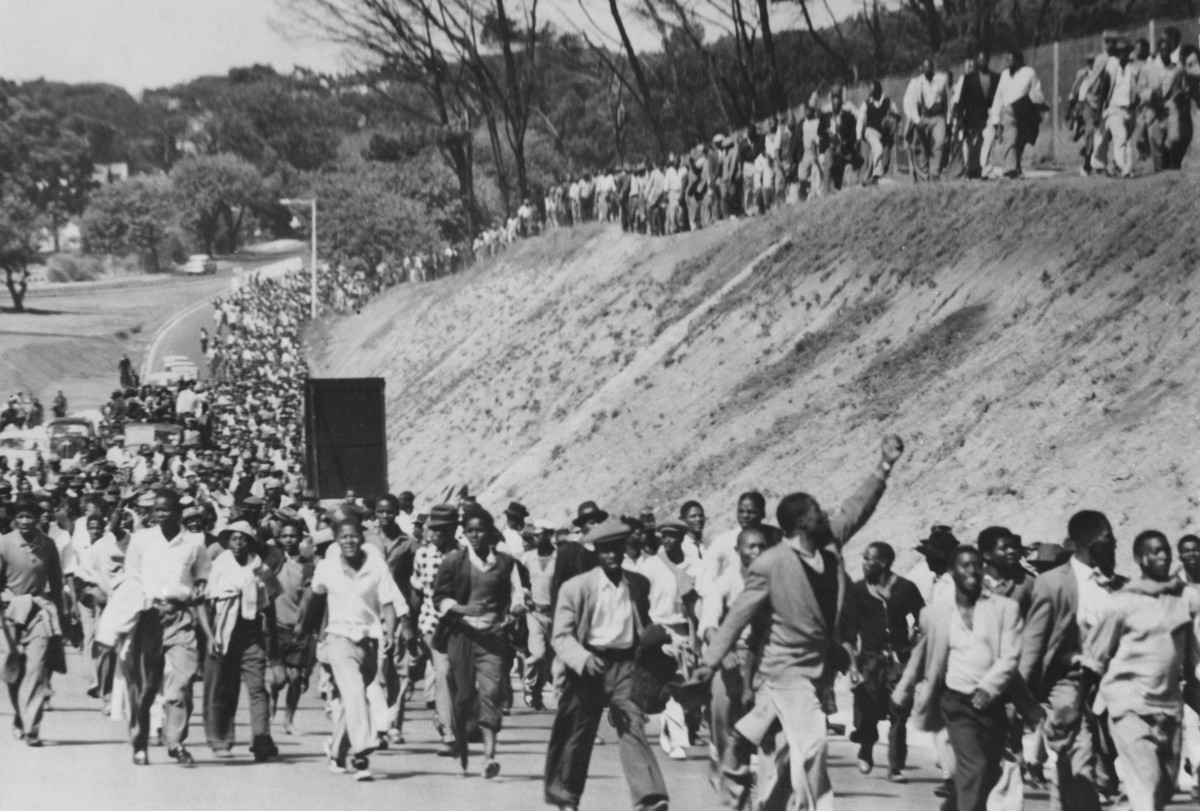30,000 protestors march from Langa into Cape Town in South Africa, to demand the release of prisoners in 1960. The prisoners were arrested for protesting against the segregationist pass laws.