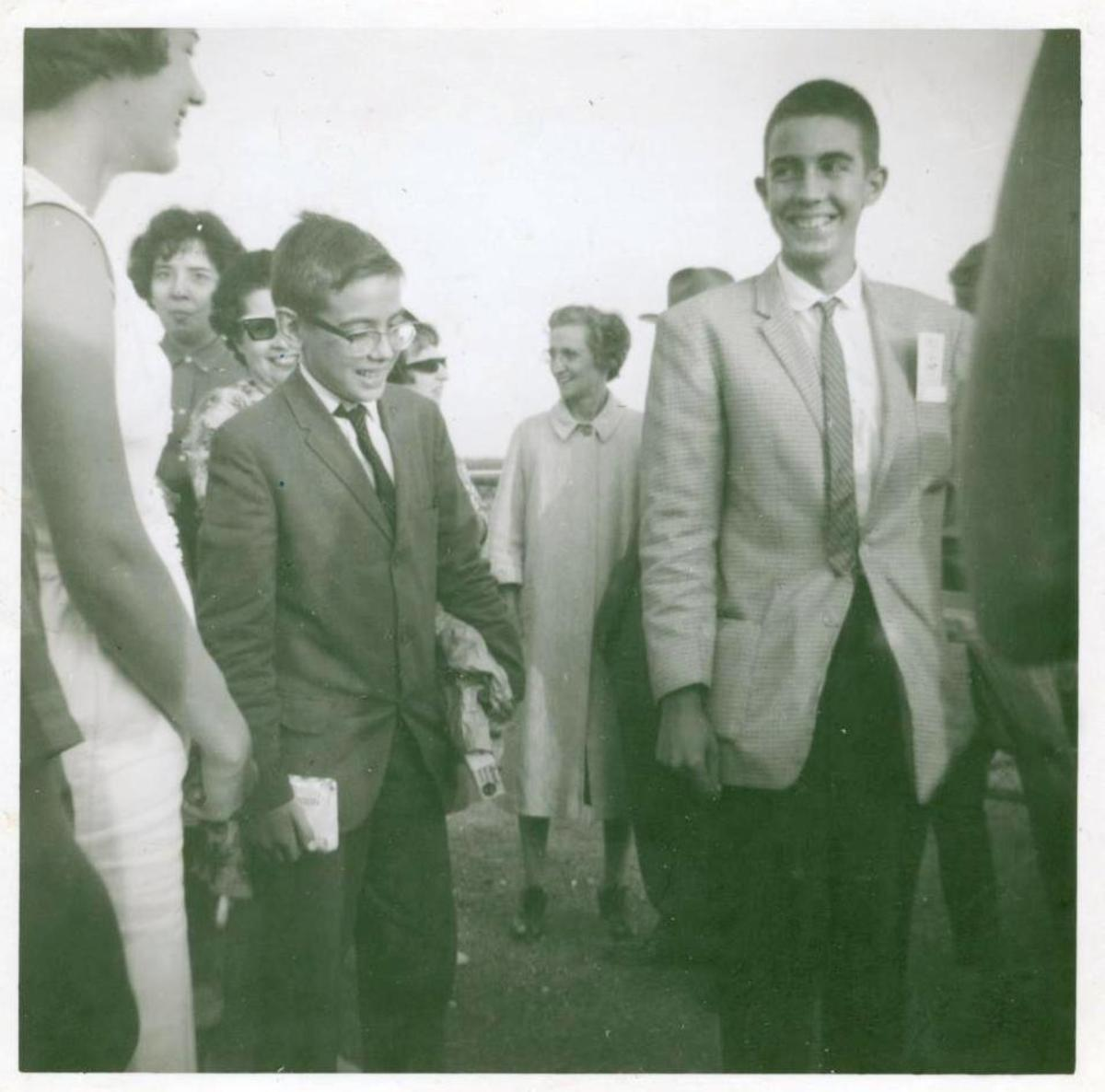 Carlos and Tony arriving in Bloomington, Illinois, circa 1963.