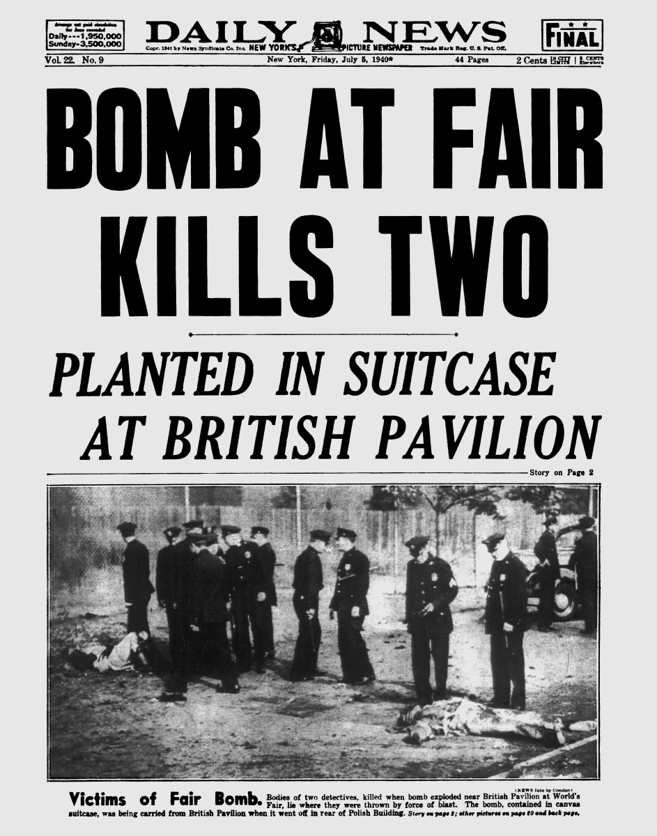 The front page of the New York Daily News on July 5, 1940 about the bomb.