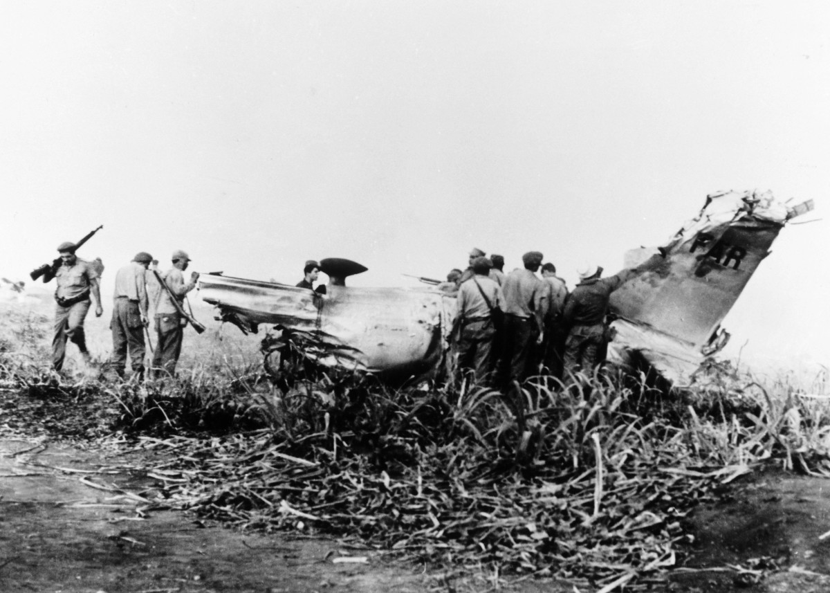 An American plane that was shot down on Playa Giron by anti-aircraft batteries during the Bay of Pigs invasion.