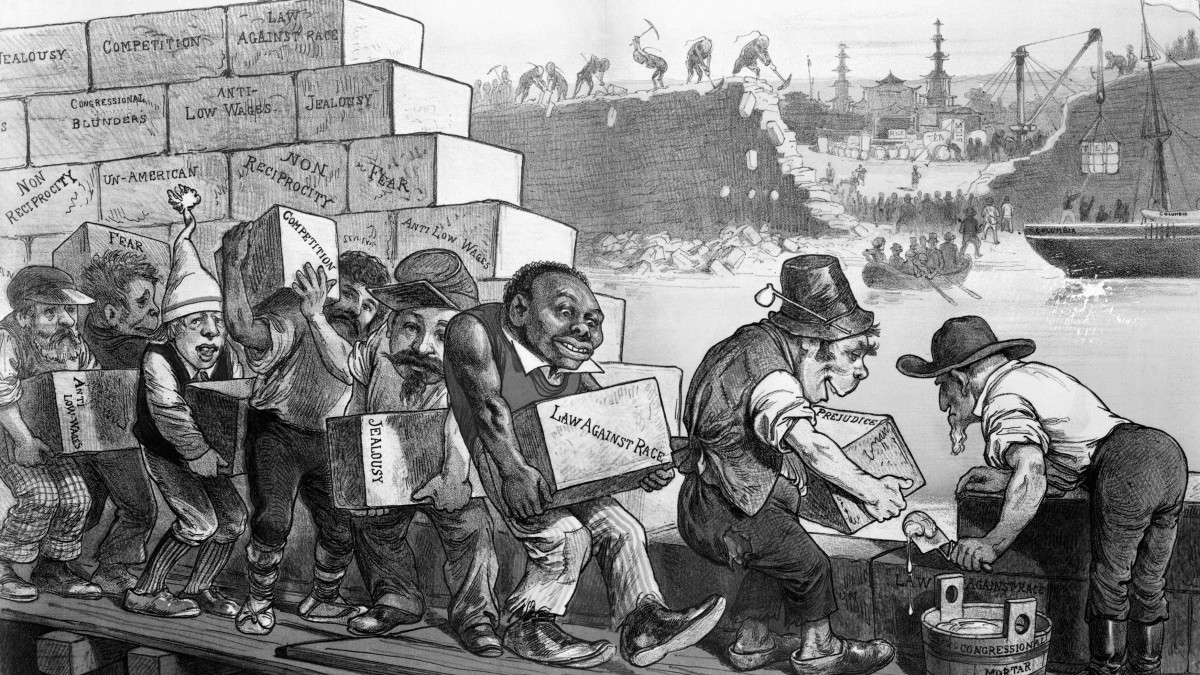 "A 1882 cartoon titled, ""The Anti-Chinese Wall,"" showing the ""American"" wall going up even as the Chinese original wall depicted in the background goes down."