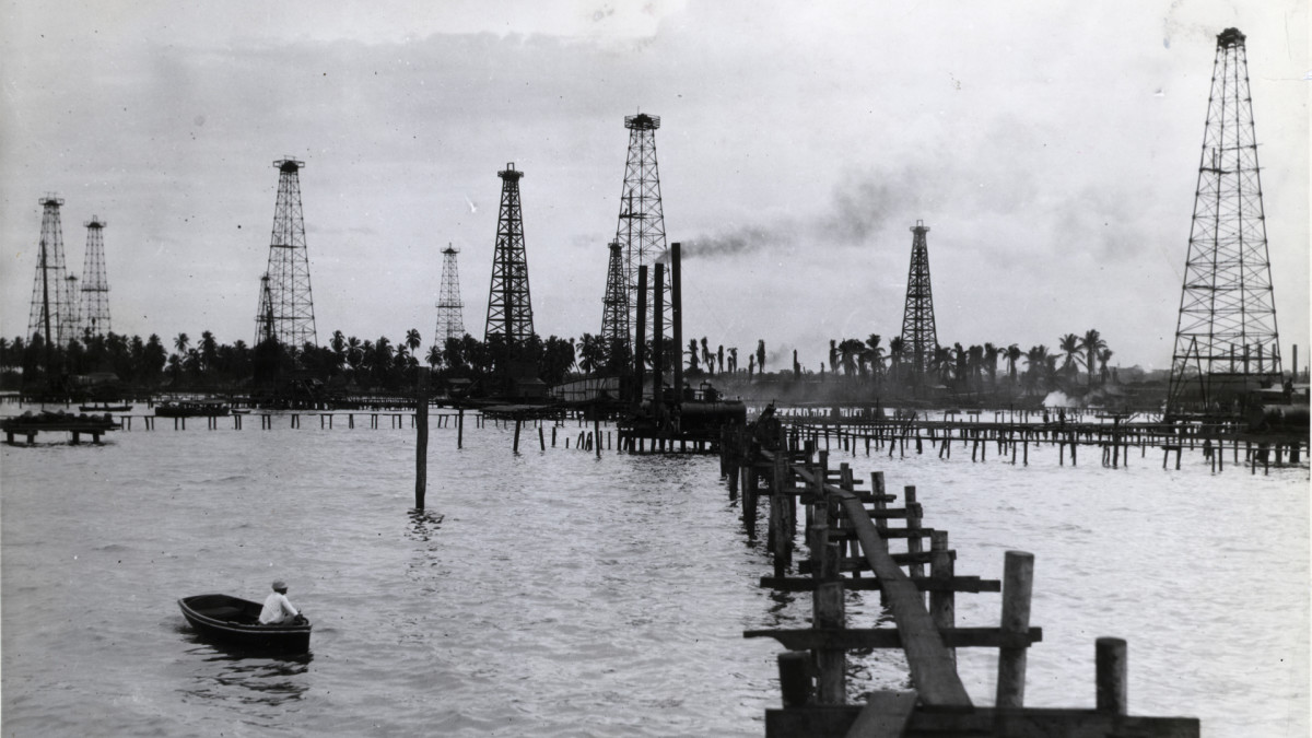 An undated photograph of the derricks in Maracaibo oil fields in Venezuela.