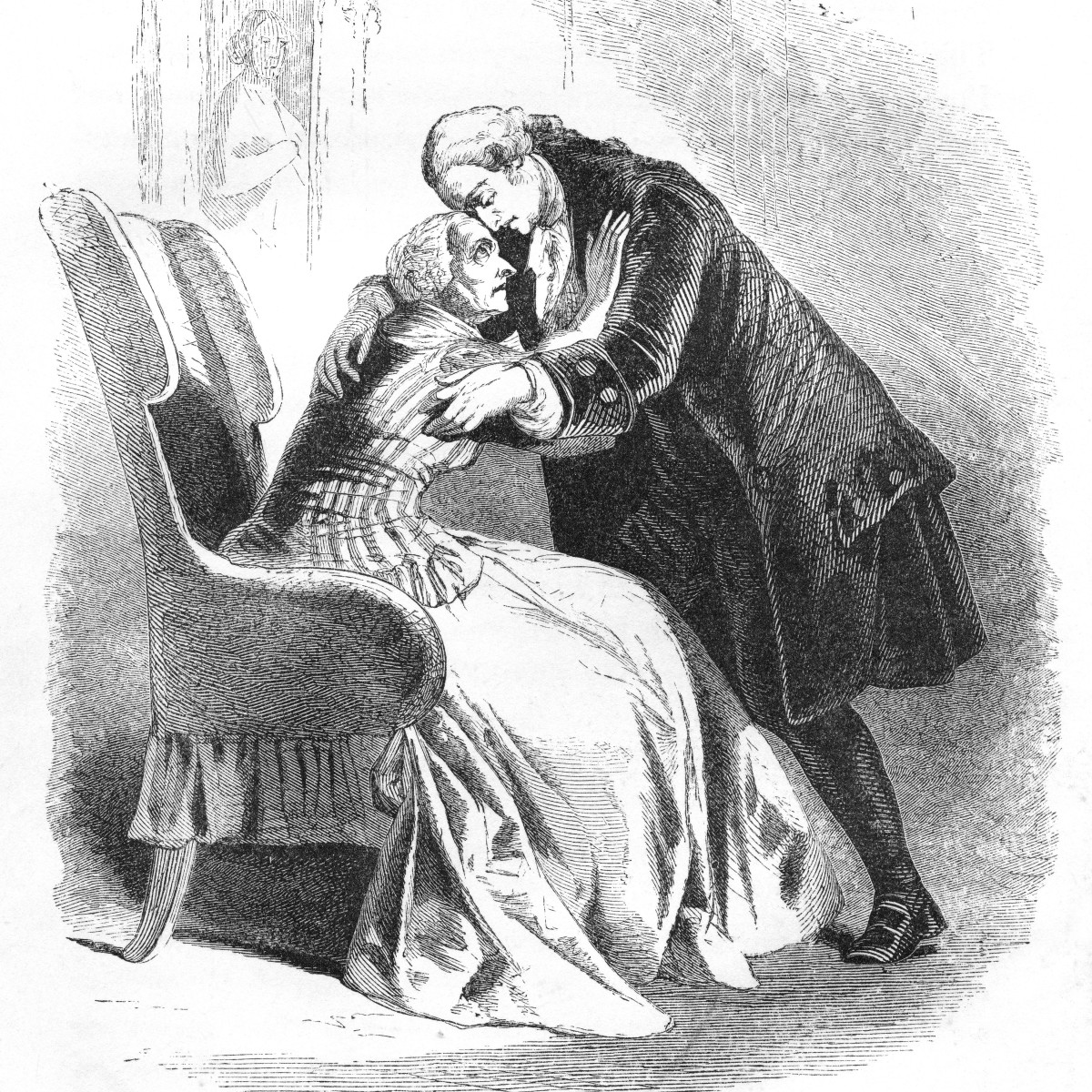 George Washington saying goodbye to his mother after his election as President of the United States, 1789.