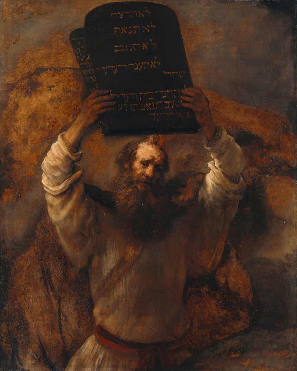 Rembrandt van Rijn, painting of Moses Breaking the Tablets of the Law, 1659.