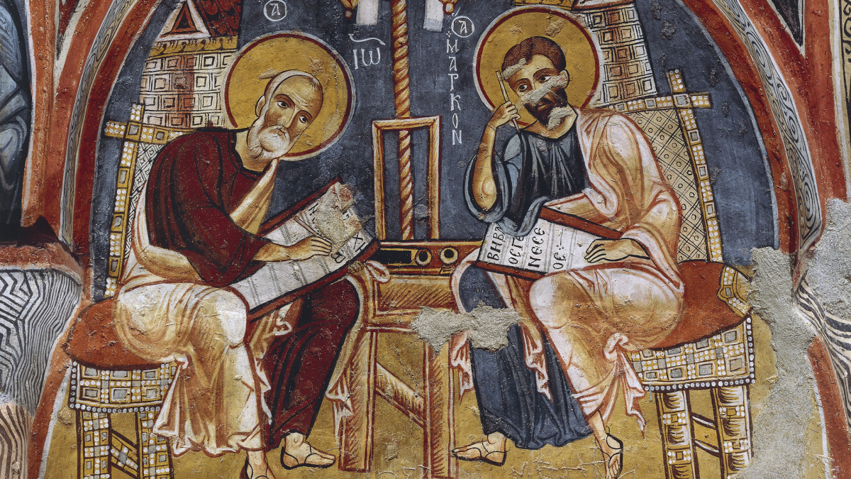 12th-13th century depiction of evangelists Luke and Matthew writing the Gospels.